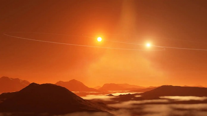 Planetary surface with two bright suns in an orange sky.
