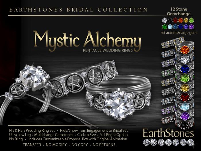 Alchemy Pentacle Wedding Rings EarthStones