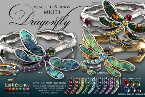 Dragonfly Bracelets & Rings Multi