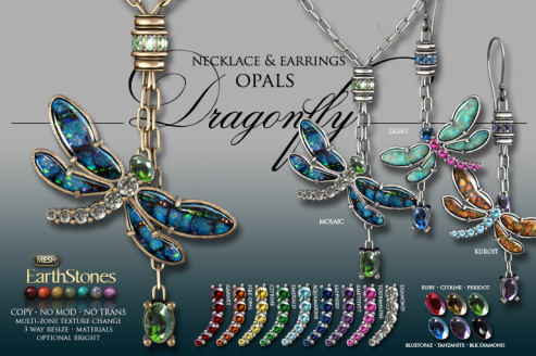 Dragonfly Necklace & Earrings - Opals
