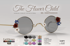 EarthStonesFlowerChildGlasses - Ms Independence