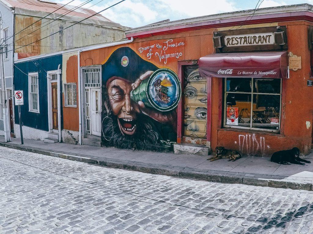 Valparaiso Street Art telescope pirate
