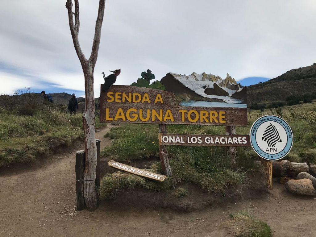 Laguna Torre Hike sign in el Chalten to Fitz Roy