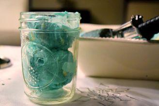 Close up mason jar icecream
