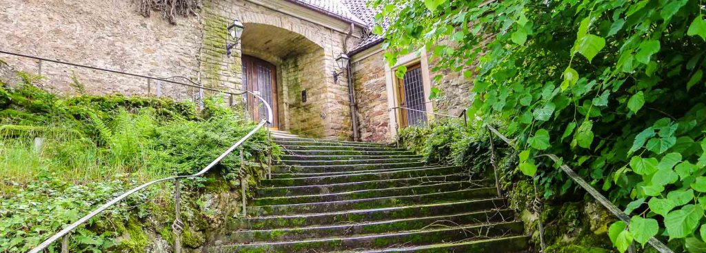 Picture of the entrance stair to my ghost castle hotel.