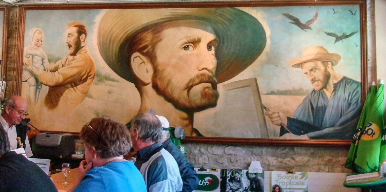 A Van Gogh mural in a Auvers-sur-Oise café.