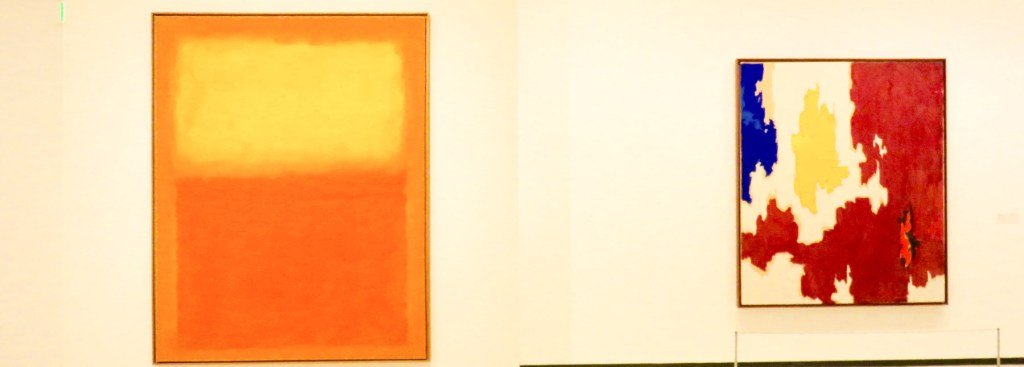 Picture of paintings by Rothko and Still.