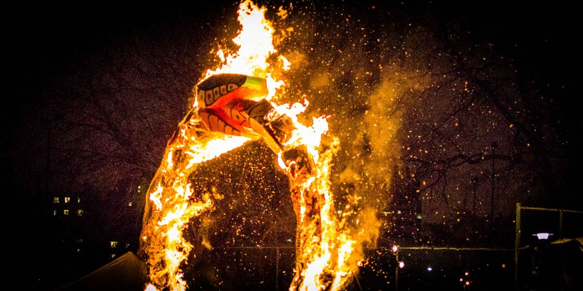 Fiery snake eating its tail in the Toronto Winter Solstice parade.