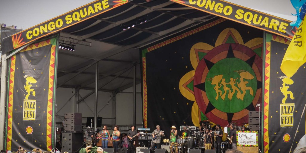 Picture of a band on the Congo Square stage.