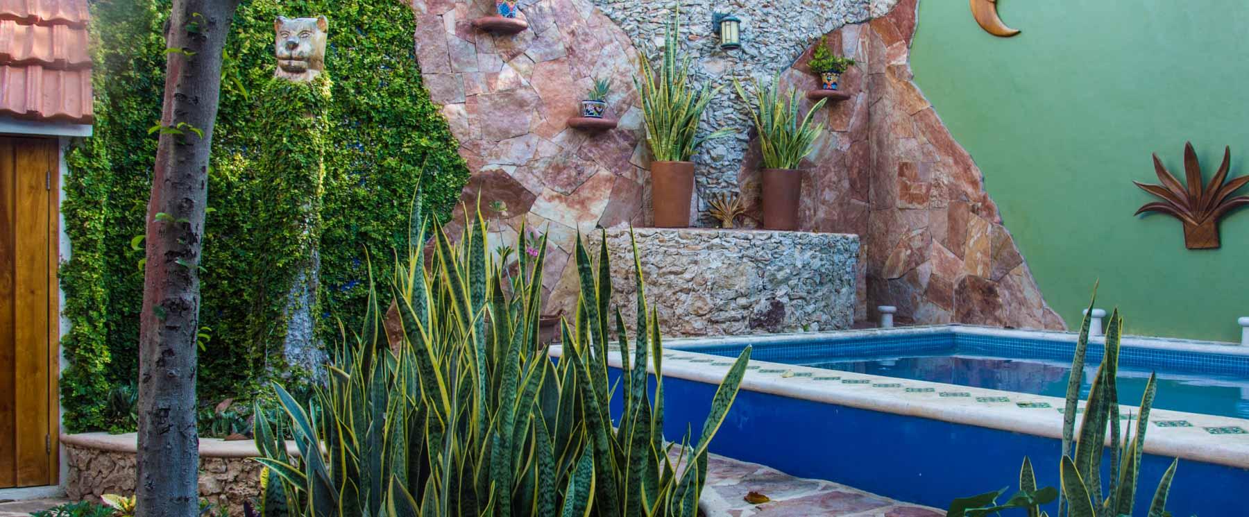 Backyard and swimming pool of Merida house.
