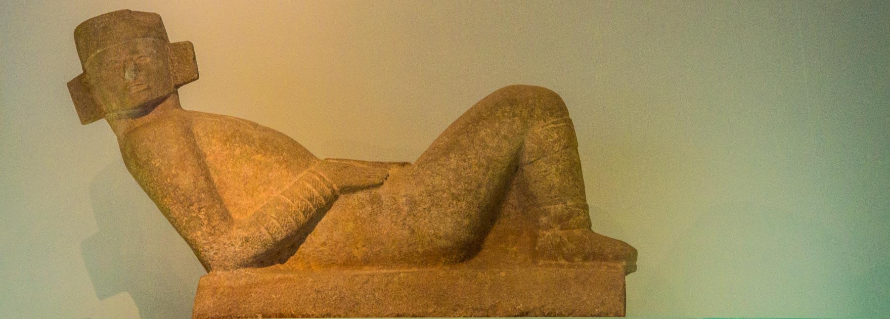 A chac-mool sculpture.