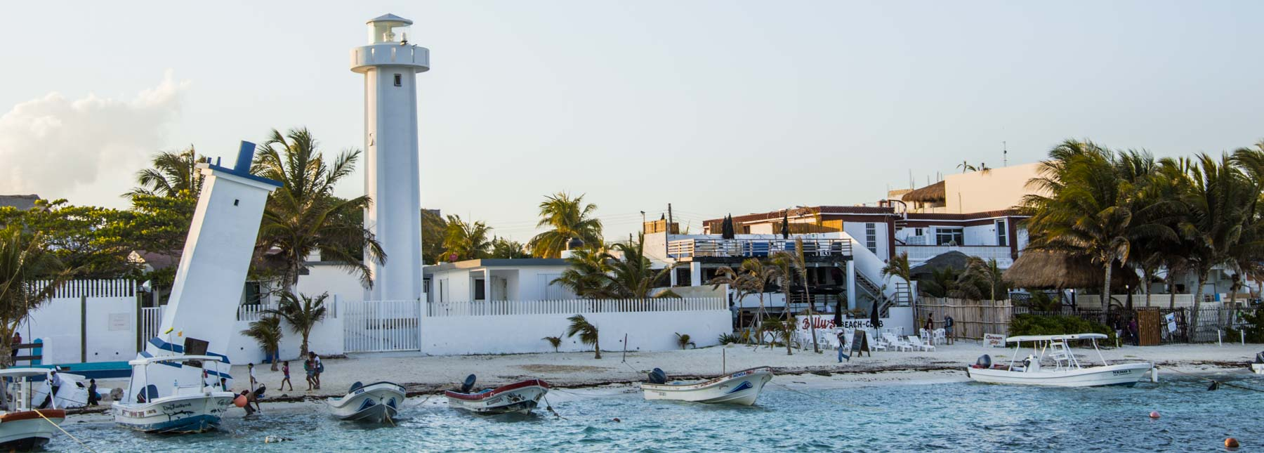 The Puerto Morelos leaning lighthouse.