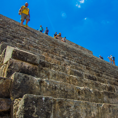 Uxmal Mayan ruin stairs. Travel insurance is a useful resource here.