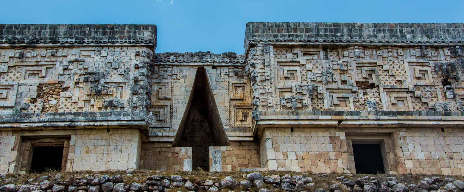 Detail of the Nunnery on our Mexico road trip to the Mayan ruins at Uxmal.