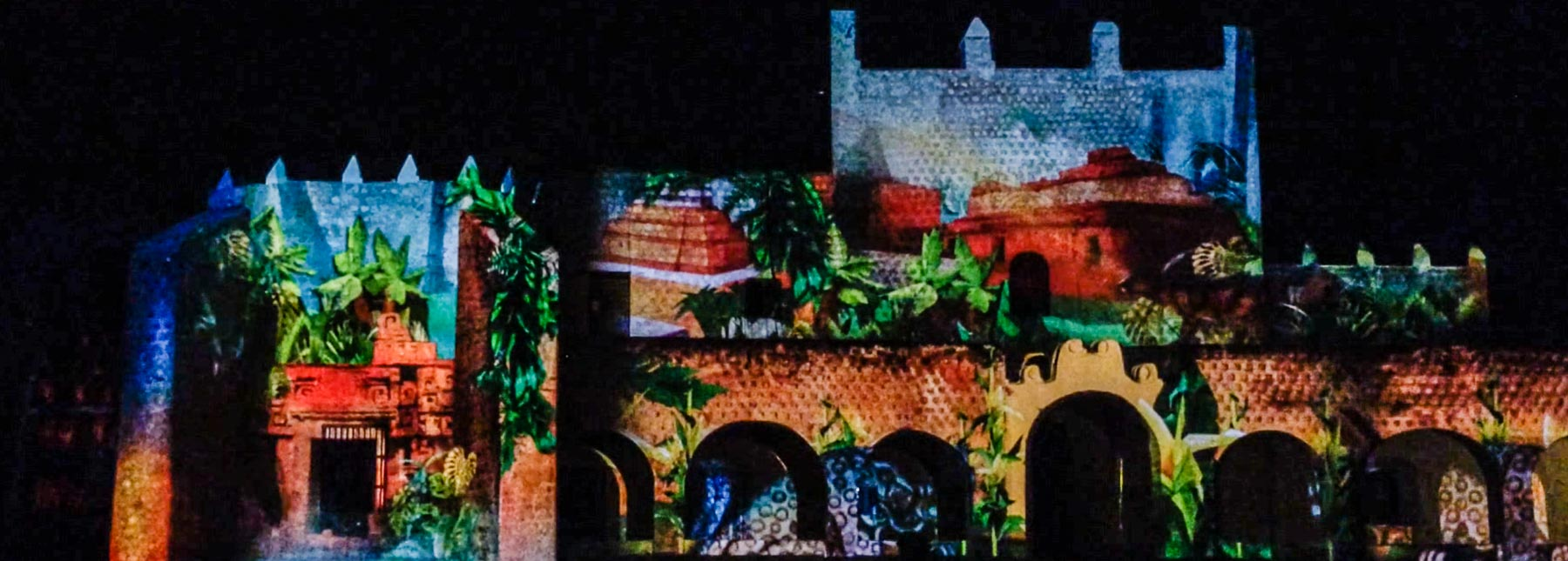 Light show on the convent walls in Valladolid.