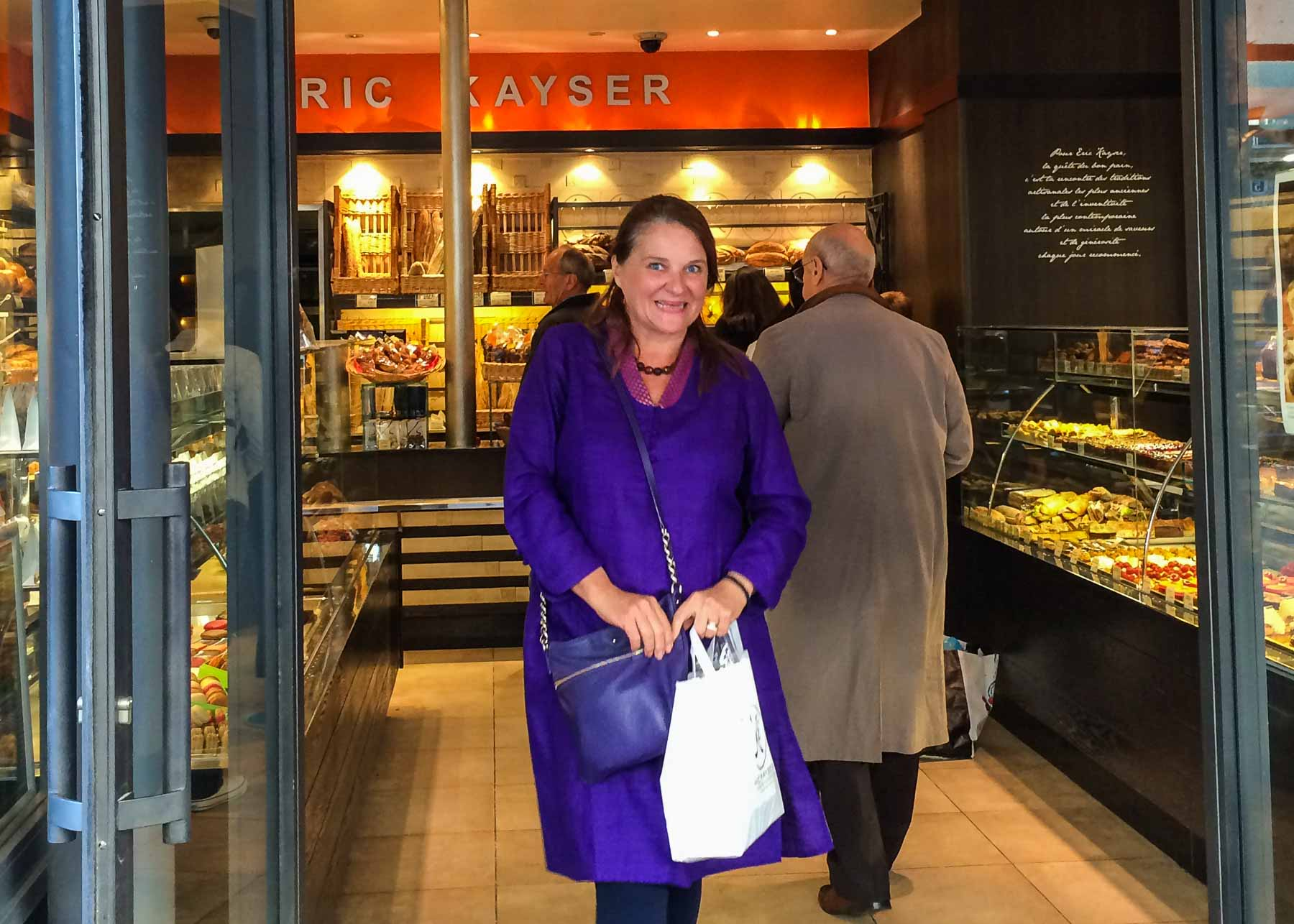 Marlene coming out of Eric Kayser store.