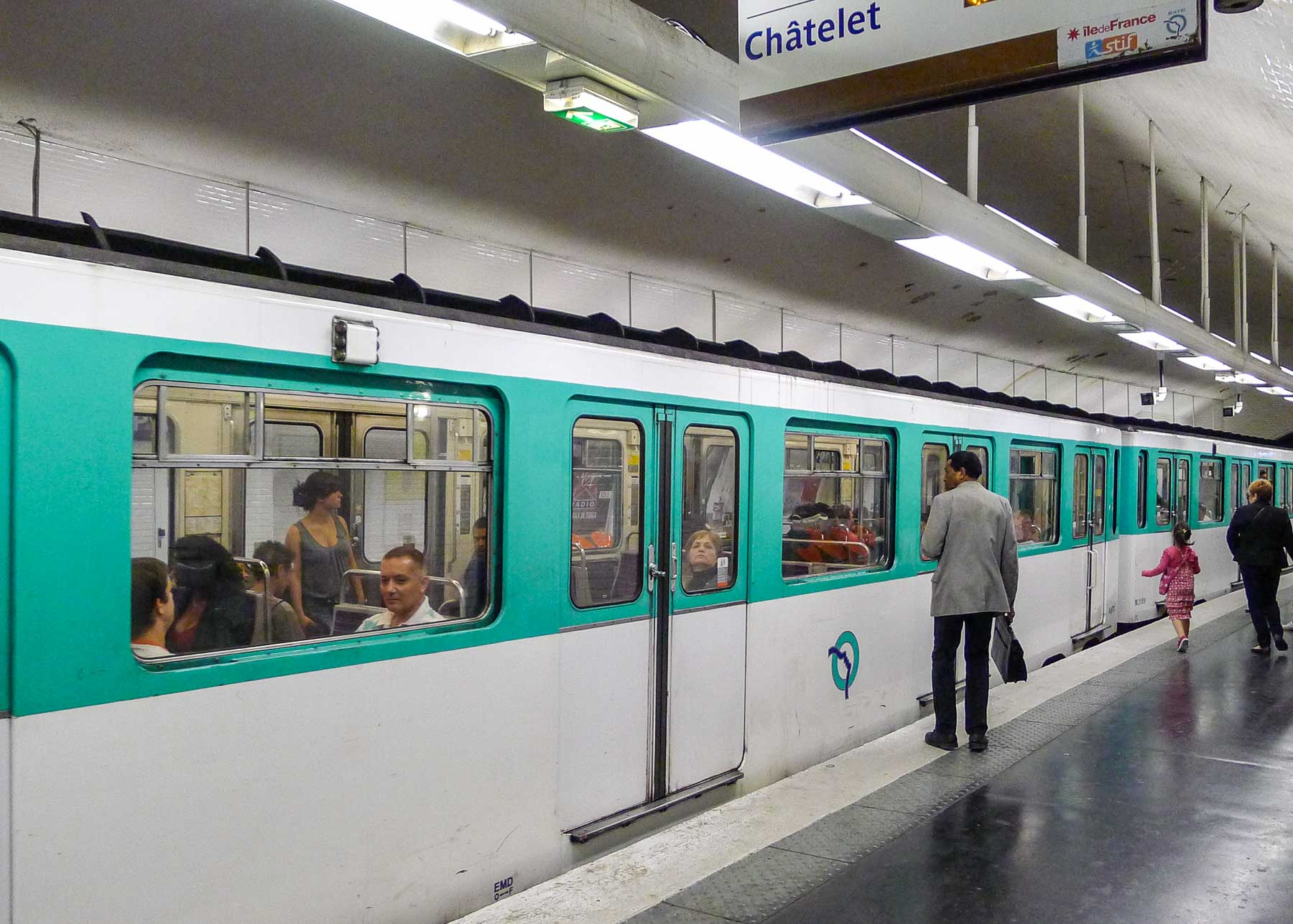 Metro train in station