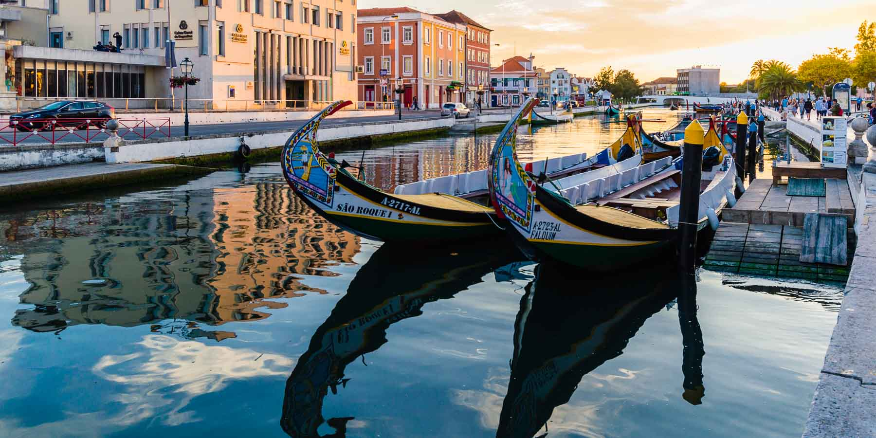 Gondolas on the canal in the town of Aveiro.