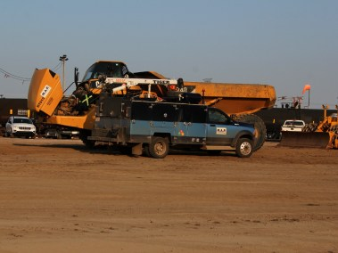 M.A.P. Service Truck Working on a Dump Druck