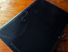 Earthworks Journals Black Leather Journal with Violin Design and Text