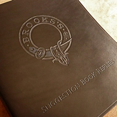 Brooks's Club Logo on Earthworks Journals Black Leather Binder
