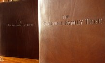 Earthworks Journals Pair of A4 Dark Brown Leather Ring Binders with Genealogy Family Tree Text