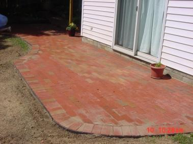 Repurposed Clay Brick Patio