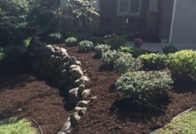 Mulch  and Boulder Wall