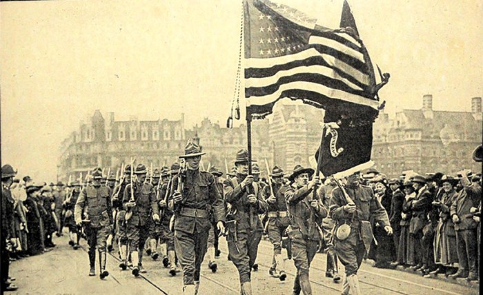 US troops marching