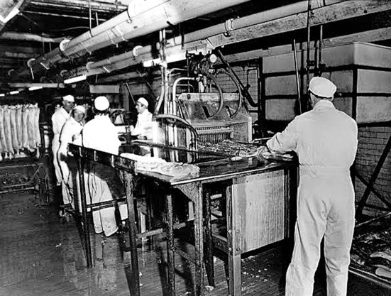 Injection line Harris Bacon factory, c. 1960