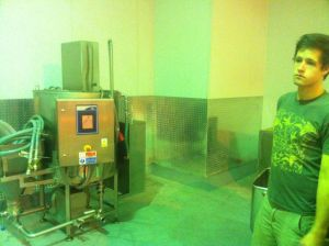 The brine mixing room taking shape. In the pic is Luke, our plumber.