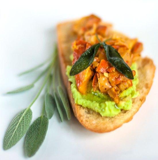 Wild Mushroom & Fava Bean Crostini