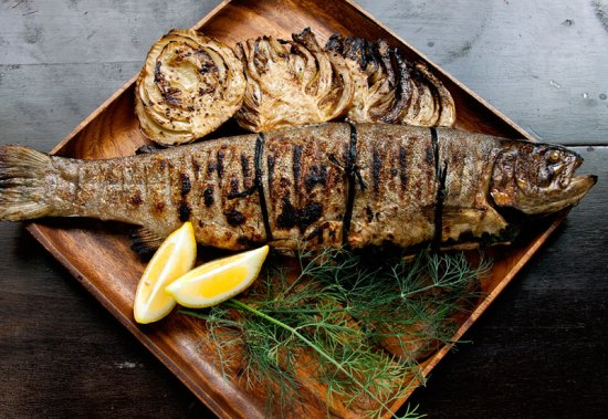 Grilled Herb-Stuffed Trout with Fennel