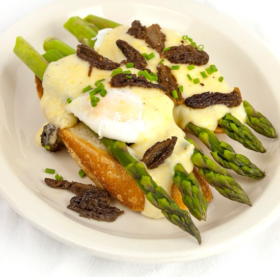 Eggs with Morels & Asparagus with Meyer Lemon Sauce