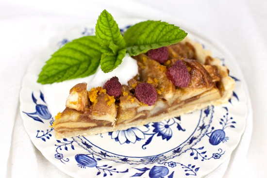 Rhubarb, Pear & Raspberry Tart
