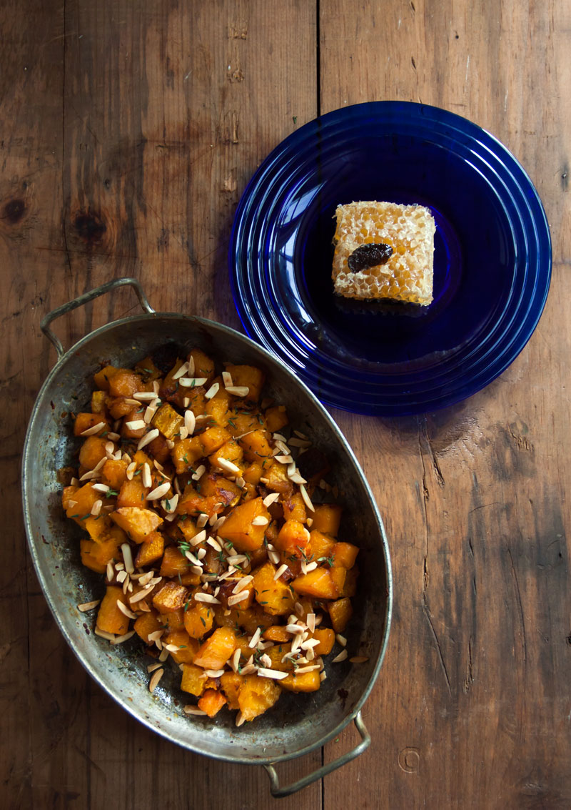 Roasted Butternut Squash With Truffle Honey, Thyme & Almonds