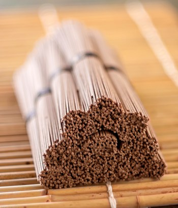 Bundles of stacked soba noodles