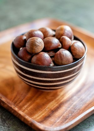 Chestnuts in a spiral-glazed bowl