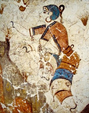 Fresco of a Girl Harvesting Saffron. Akrotiri, Crete
