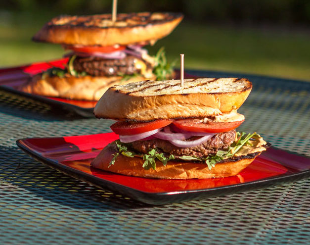 MOREL-STUFFED BURGERS ON GRILLED GARLIC TOAST WITH CHIPOTLE-LIME MAYONNAISE