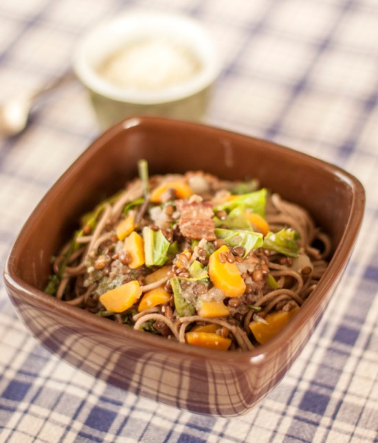 Soba Noodles with Black Lentils, Smoked Bacon and Greens