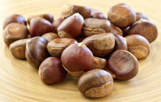 Fresh Chestnuts on bamboo platter