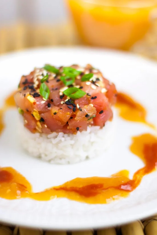 Spicy Tuna Tartare with Mango-Chili Sauce