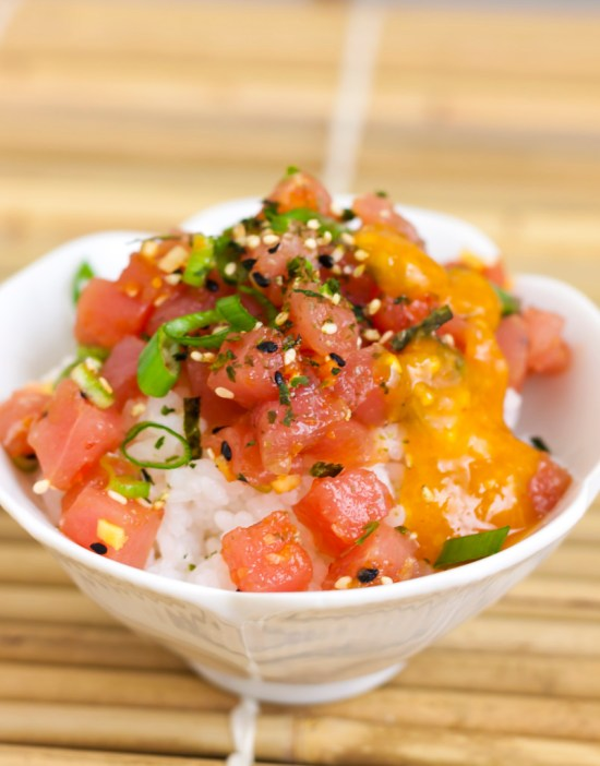Spicy Tuna Tartare over Rice