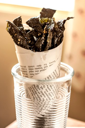 Crispy Spicy Sesame Nori Chips wrapped in paper