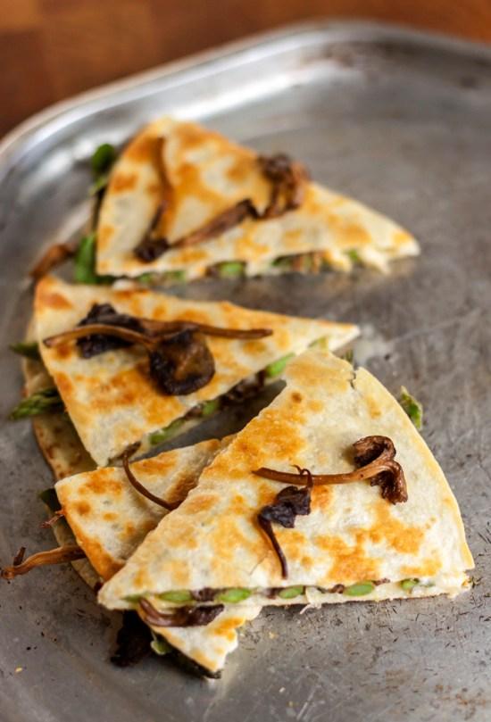 Wild Mushroom, Asparagus & Arugula Quesadilla