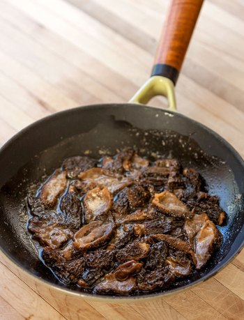 Morels pan-fried in butter