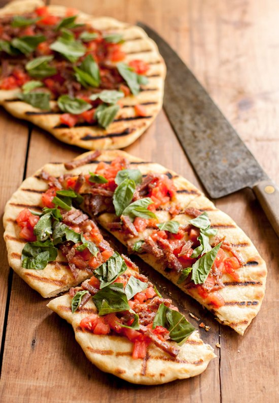 Grilled Pizzettas with Fire-roasted Tomatoes and Barolo Salami