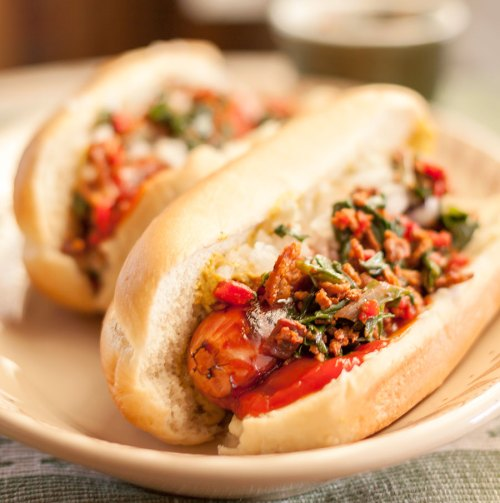 Frankfurters with Grilled Ramp Relish