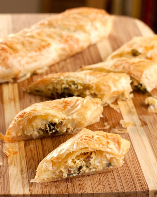 Sliced Ramp, Goat Cheese & Pine Nut Phyllo Rolls